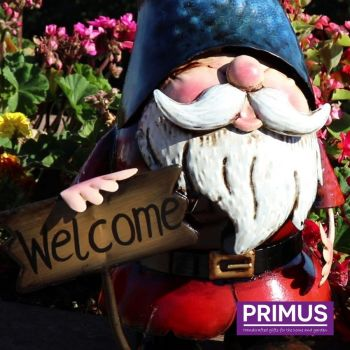 Primus Metal Gnome Welcome Garden Patio Ornament 31cm High