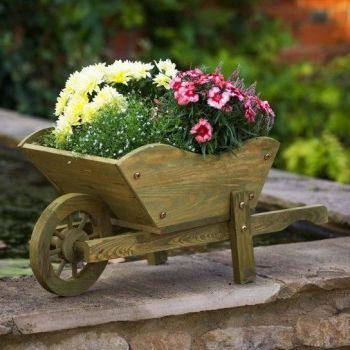 Smart Garden Wooden Wheelbarrow Woodland Planter Ornament