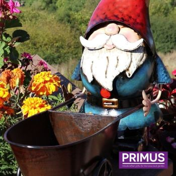 Primus Metal Gnome Wheelbarrow Garden Patio Ornament 31cm High