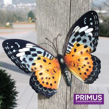 Primus Large Metal Butterfly Wall Art - Orange and Black 35cm x 25cm