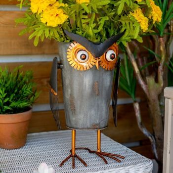 La Hacienda Copper Owl Pot Garden Animal Ornament