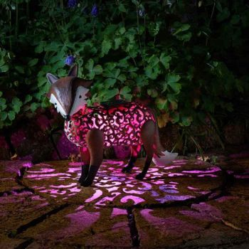Smart Solar Metal Fox Garden Patio Light Animal Ornament
