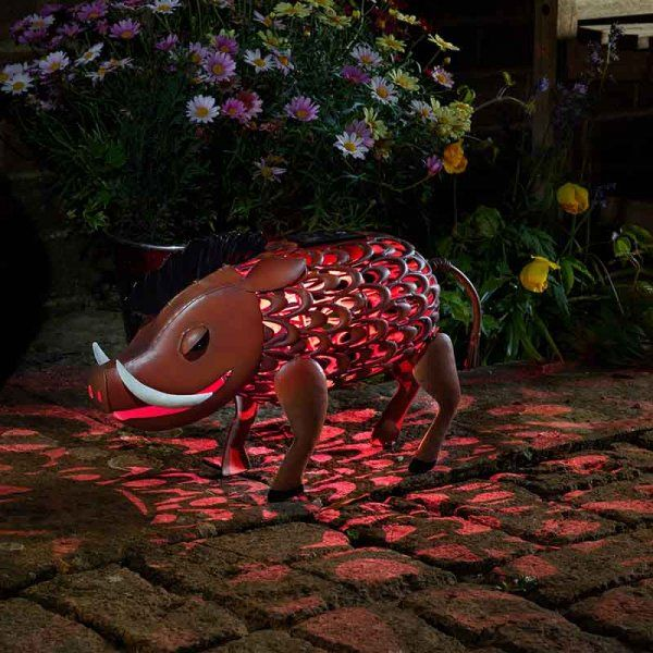 Solar Metal Warthog Garden Patio Light Lighting Animal Ornament
