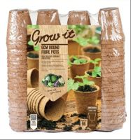 Gardman Grow it 6cm Round Fibre Pots Biodegradable x 192 (2 Packs 96)