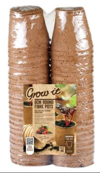 Gardman Grow it 8cm Round Fibre Pots Biodegradable x 48