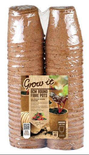 Gardman Fibre Pots Biodegradable Seed Pots - 48 x 8cm Round