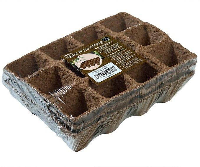 Garland 5cm Square Fibre Pots Strips Biodegradable 3 x 12 (36 pots)