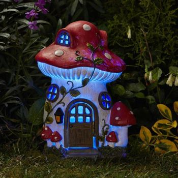 Smart Solar Mush-Room House Garden Solar Lighting Ornament