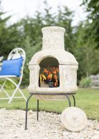 La Hacienda Clay Chimenea - Star Flower Design with Grill 67048