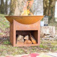 La Hacienda Fasa Oxidised Cast Iron Firepit with Steel Stand