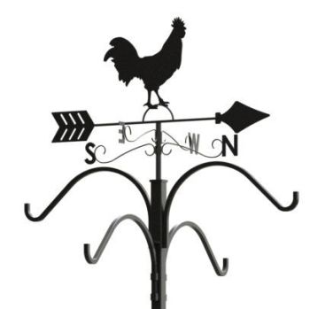 Panacea Rooster Weathervane Shepherd Hook Garden Ornament