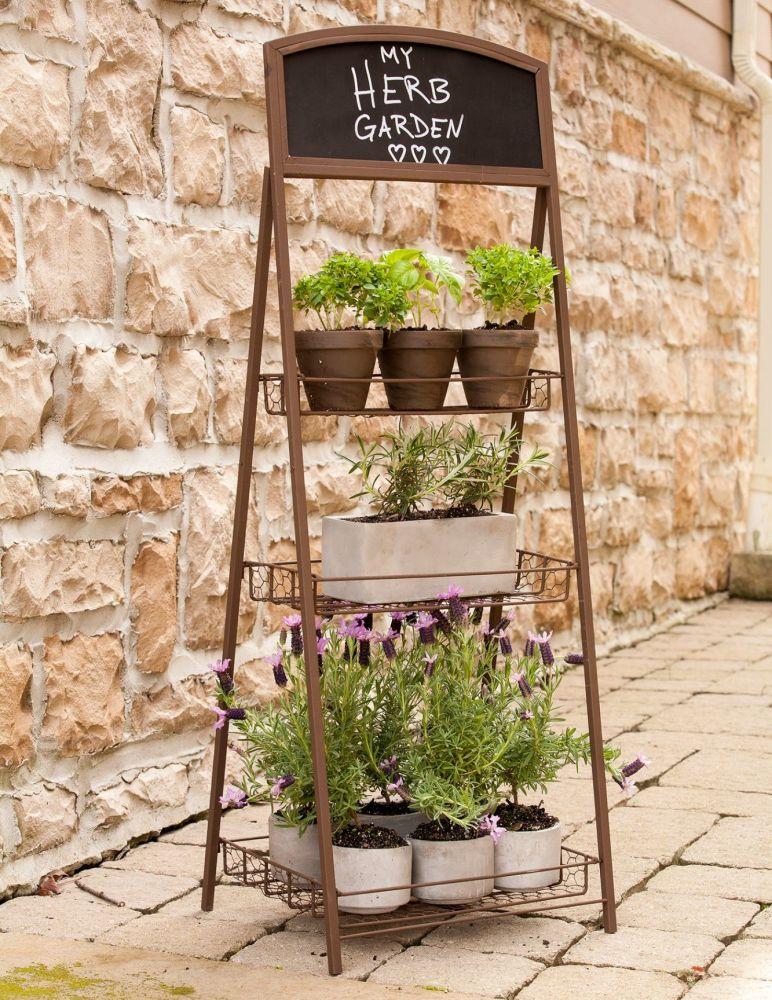 Panacea 3 Tier Folding Chalkboard Plant Stand