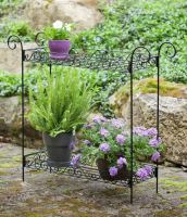 Panacea Scroll 2 Tier Plant Stand - Black