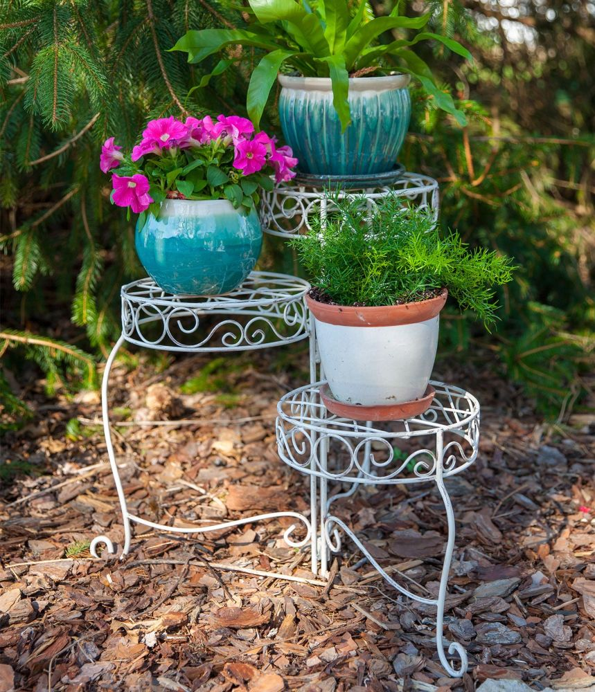 Panacea French Country Scroll 3 Tier Plant Stand - Distressed White