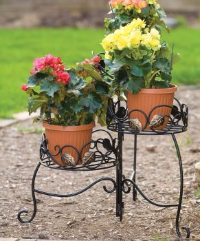 Panacea Scroll & Ivy 3 Tier Folding Plant Stand - Black