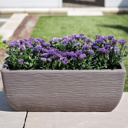 Stewart Cotswold Trough Decorative Plastic Planter - Brown 60cm