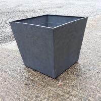 Stewart Beton 48cm Low Square Contemporary Plastic Planter - Dark Grey