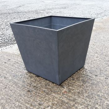 Stewart Beton 48cm Low Square Contemporary Plastic Planter - Dark Grey