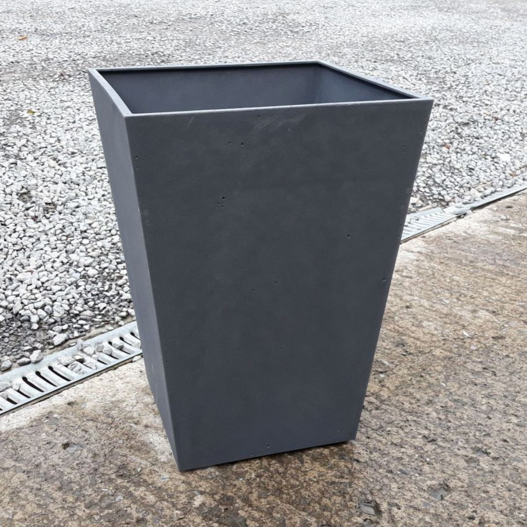 Stewart Beton 40cm Tall Square Contemporary Plastic Planter - Dark Grey