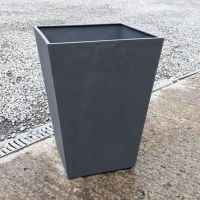 Stewart Beton Tall Square Contemporary Plastic Planter - Dark Grey 55cm high