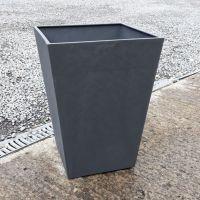 Stewart Beton Tall Square Contemporary Plastic Planter - Dark Grey 55cm high