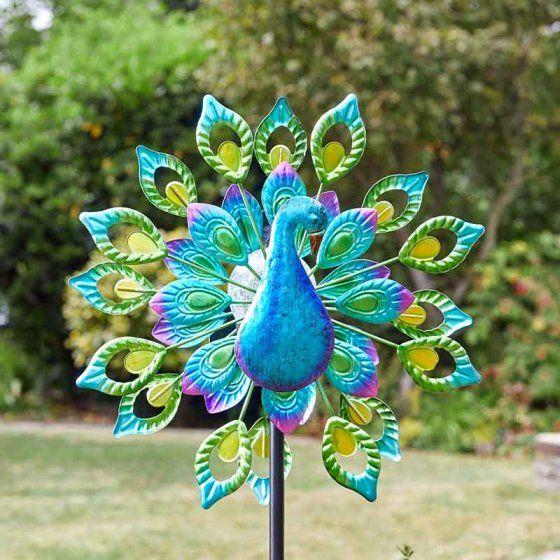 Smart Solar Peacock Wind Spinner Garden Solar Light