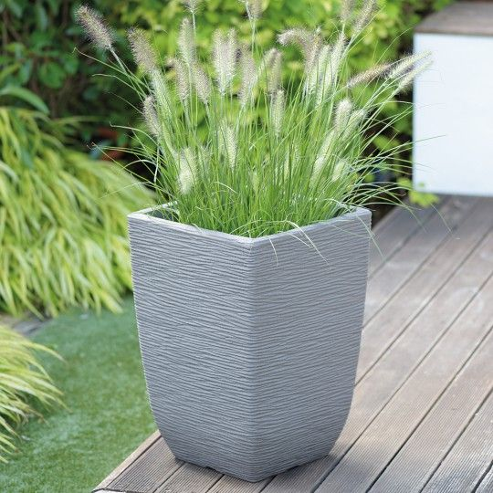 Stewart Cotswold Decorative Plastic Planter - Limestone Grey 48cm Tall x 33
