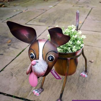 Primus Nodding Dog Metal Pot Plant Planter
