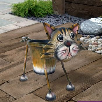 Primus Nodding Cat Metal Pot Plant Planter