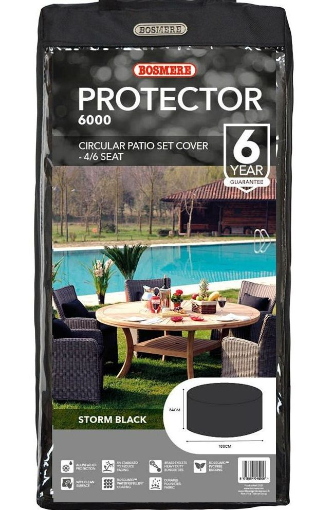 Bosmere 4 to 6 Seat Circular Patio Set  Polyester Cover - Black D520XL