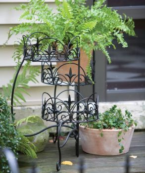 Panacea Classic Finial 3 Tier Folding Plant Stand - Black 89179