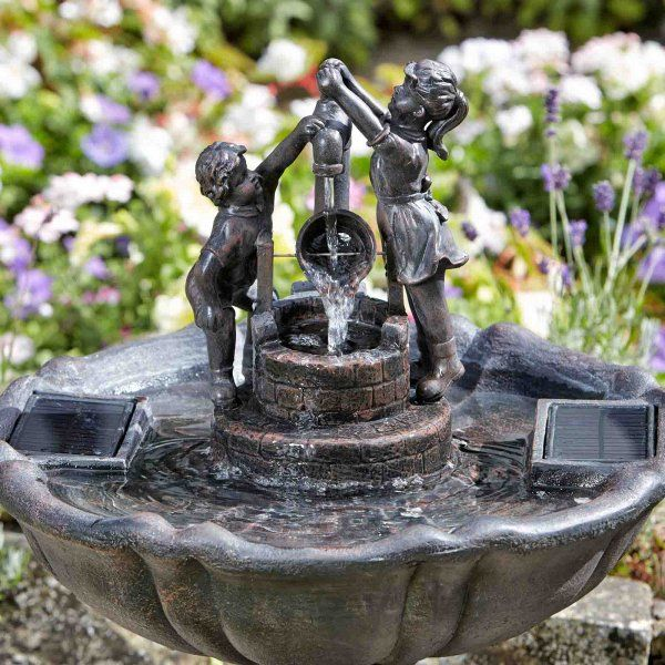 Smart Solar Tipping Pale Garden Fountain Water Feature