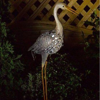 Smart Solar Heron Metal Garden Light Animal Ornament