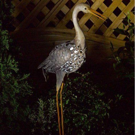 Solar Metal Heron Garden Light Lighting Animal Ornament