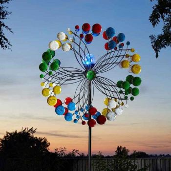 Smart Solar Harlequin Wind Spinner Garden Solar Ornament - 7ft