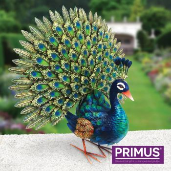 Primus Deluxe Metal Peacock Bird Garden Animal Ornament