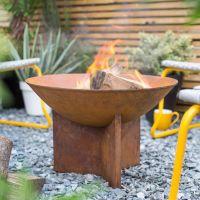 La Hacienda Kala Oxidised Cast Iron Firepit with Steel Stand
