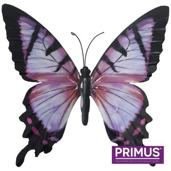 Primus Large Metal Butterfly Wall Art - Pink and Black 35cm x 32cm