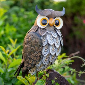 La Hacienda Wise Owl Metal Garden Animal Ornament