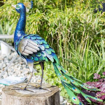 La Hacienda Peacock Metal Garden Animal Ornament 55481