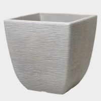 Stewart Cotswold Square Plastic Planter Limestone Grey - 38cm Sq