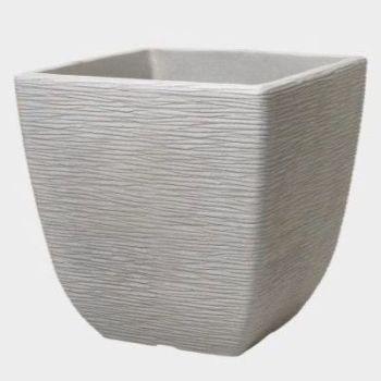 Stewart Cotswold Square Plastic Planter Limestone Grey - 38cm