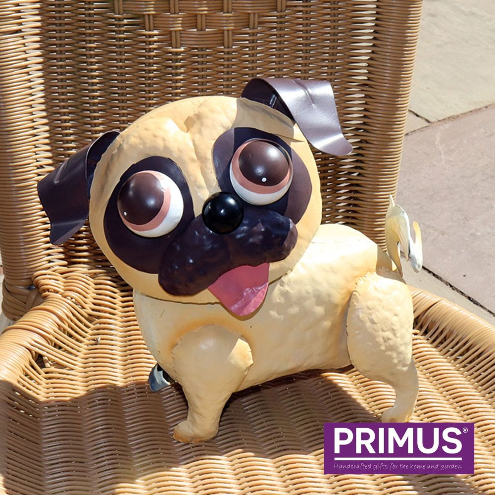 Primus Pablo Pug Dog Metal Garden Animal Ornament - Bobble Buddies