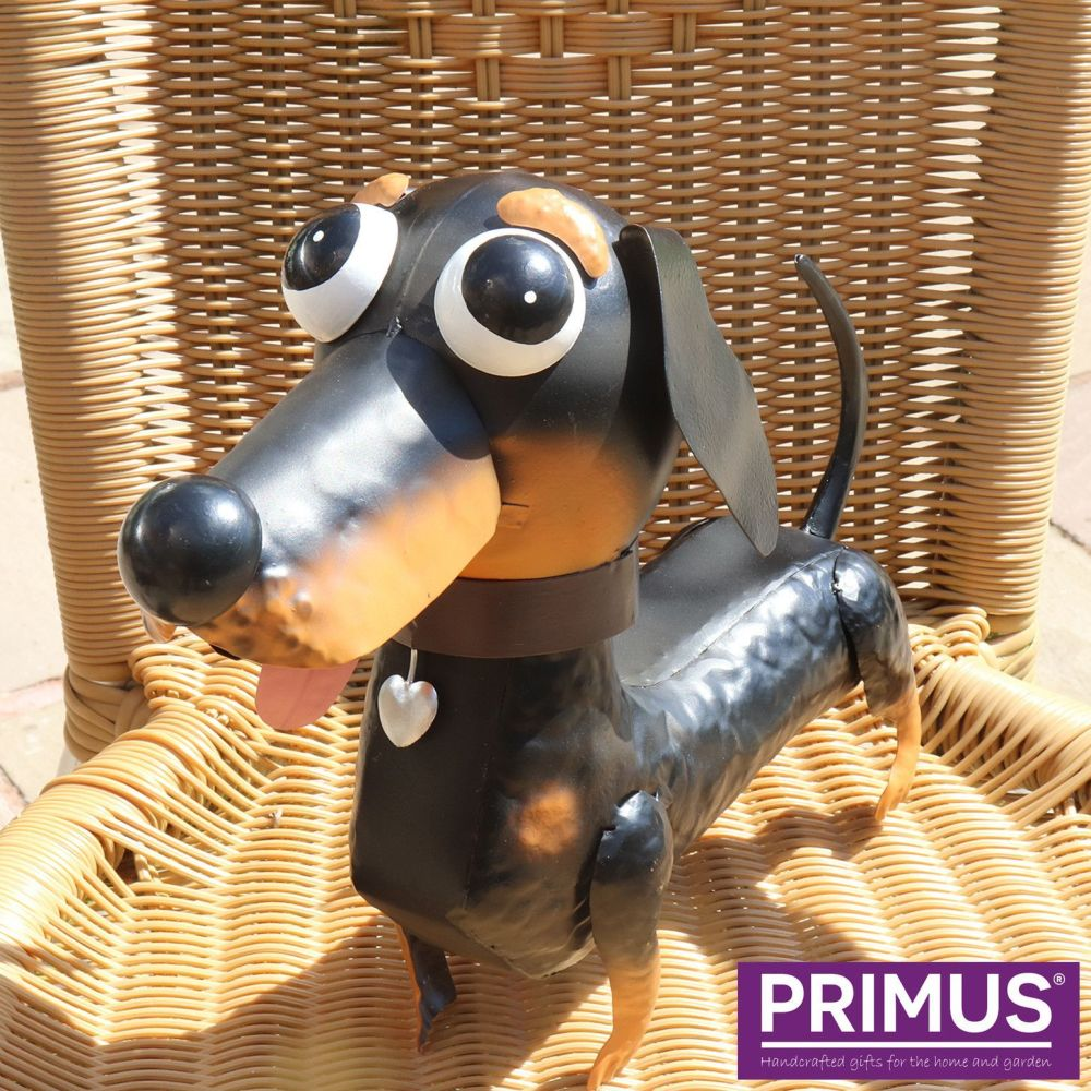 Primus Darcey the Dachshund Dog Metal Animal Ornament - Bobble Buddies