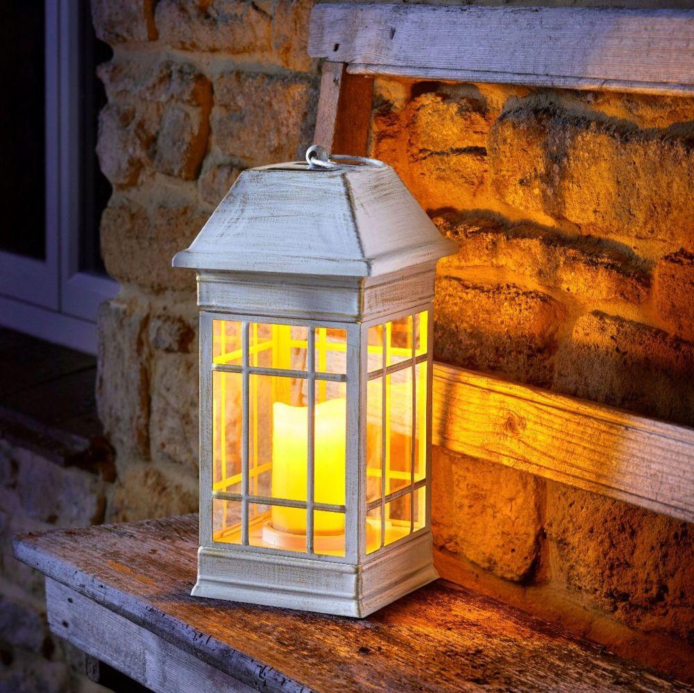 Smart Solar Seville Solar Powered Candle Lantern - Cream