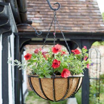 Smart Garden Forge Metal Hanging Basket with Liner - Heavy Duty 14''