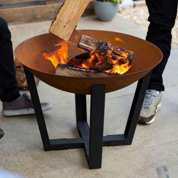 La Hacienda Icarus Medium Oxidised Cast Iron Firepit with Steel Stand