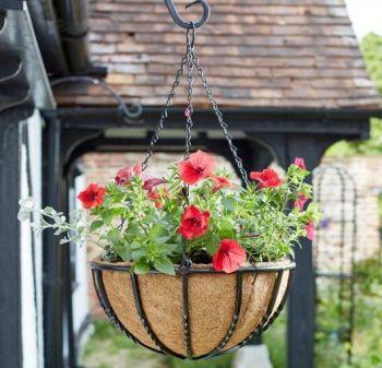 Smart Garden Forge Metal Hanging Basket with Liner - Heavy Duty 16''
