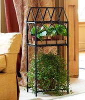 Panacea Fernery Plant Stand - Black Metal & Copper Tray 88135