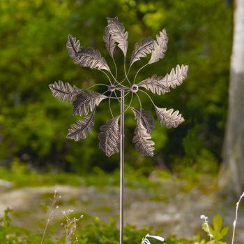 Panacea Bronze Leaf Wind Spinner Garden Ornament 1.8m high 88865